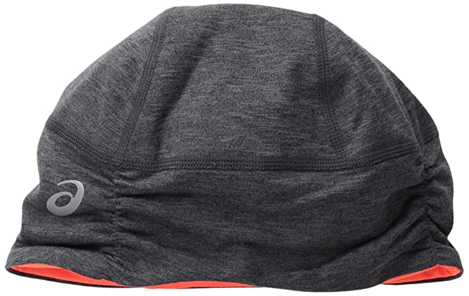 659e9855 ASICS Unisex Thermopolis Lt Ruched Beanie, Dark Grey Heather/Fiery Flame,  One Size