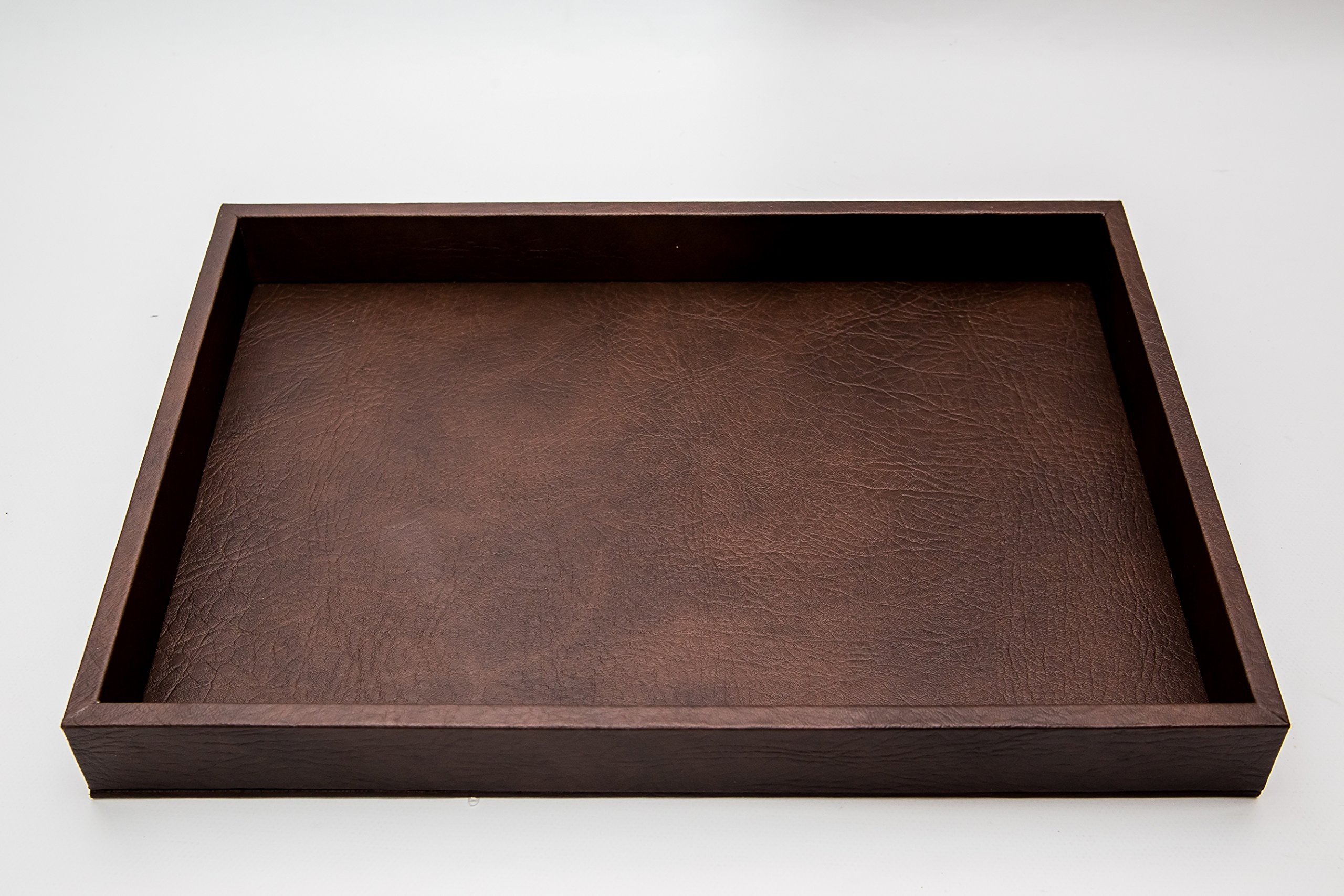Leather Tray Made Of Wood - 18'' X 13'' - Brown