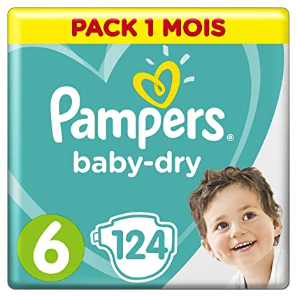 Pampers Baby Dry - Pañales para bebés, Talla 6 (15+kg),