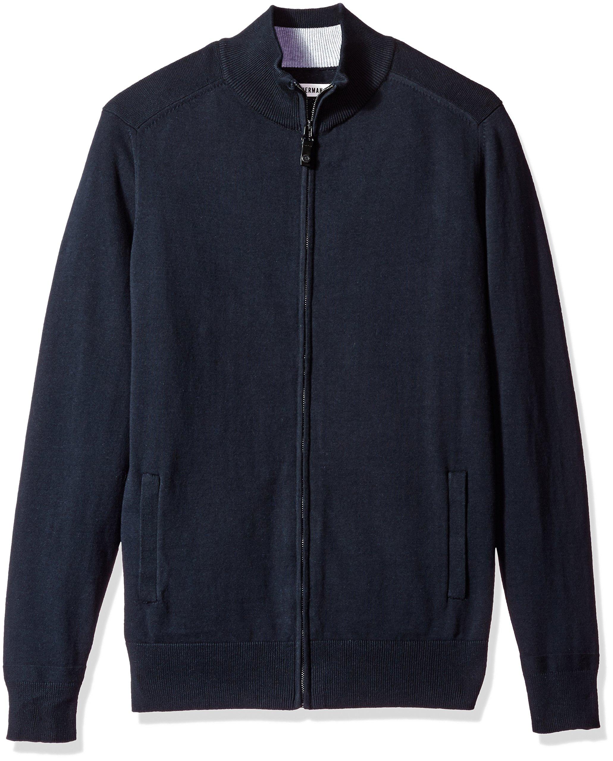 Ben Sherman Men's Full Zip Sweater, Navy Blazer, Medium