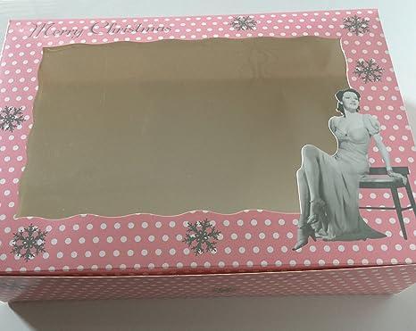 Cajas para cupcakes, cajas diseño de cupcake cajas para cupcakes, color rosa de Navidad