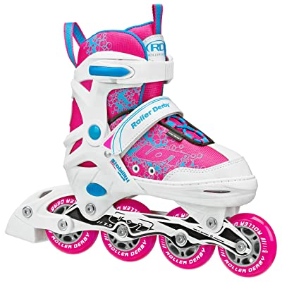 Roller Derby Girls' ION 7.2 Adjustable Inline Skates White/Hot Pink/Turquoise : Sports & Outdoors