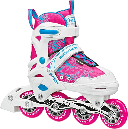 Roller Derby Girls ION 7.2 Adjustable Inline Skates White Hot Pink Turquoise
