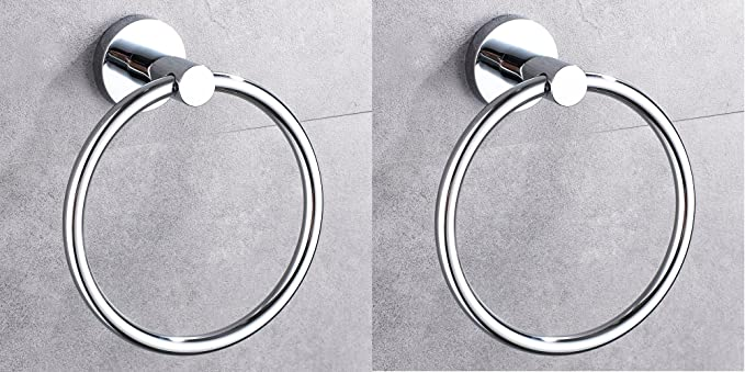 INDISWAN� Bathroom Towel Napkin Ring Stainless Steel (Silver, Chrome Finish) (Pack of 2)