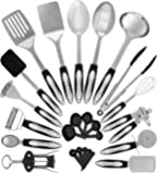 Stainless Steel Kitchen Utensil Set - 25 Cooking Utensils - Nonstick Kitchen Utensils Cookware Set with Spatula - Best Kitchen Gadgets Kitchen Tool Set Gift by HomeHero