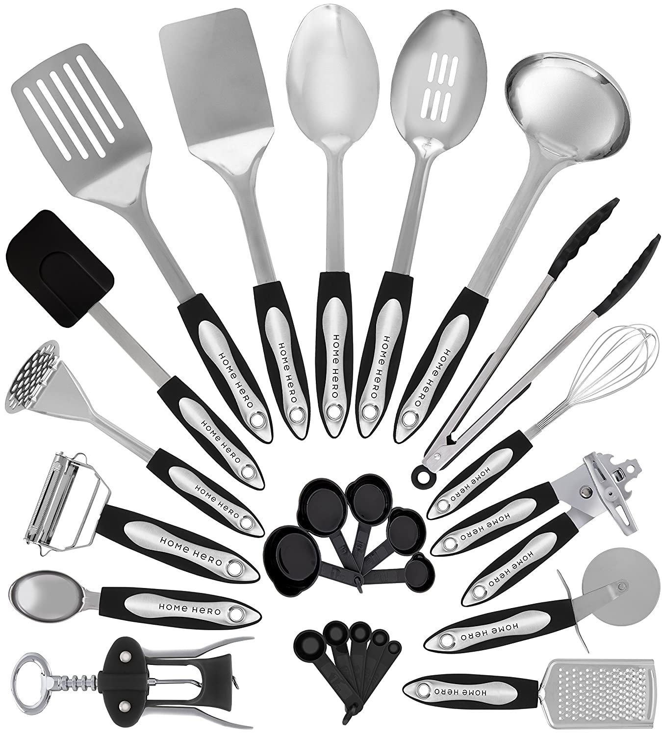 Details about Stainless Steel Kitchen Utensil Set - 25 Cooking Utensils -  Nonstick...