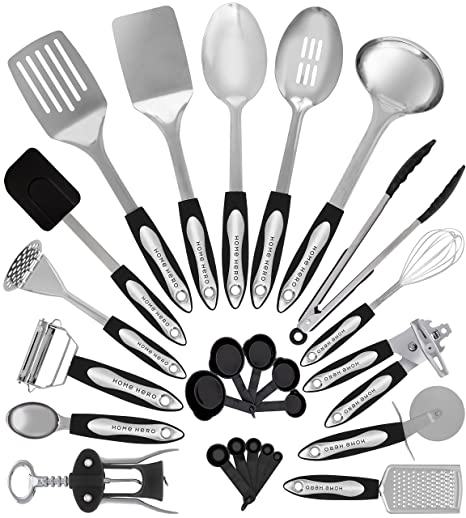 stainless steel kitchen utensil set 25 cooking utensils nonstick kitchen utensils cookware set with - Kitchen Wares