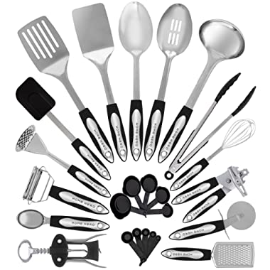 HomeHero Stainless Steel Kitchen Utensil Set - 25 Cooking Utensils - Nonstick Kitchen Utensils Cookware Set with Spatula - Best Kitchen Gadgets Kitchen Tool Set Gift