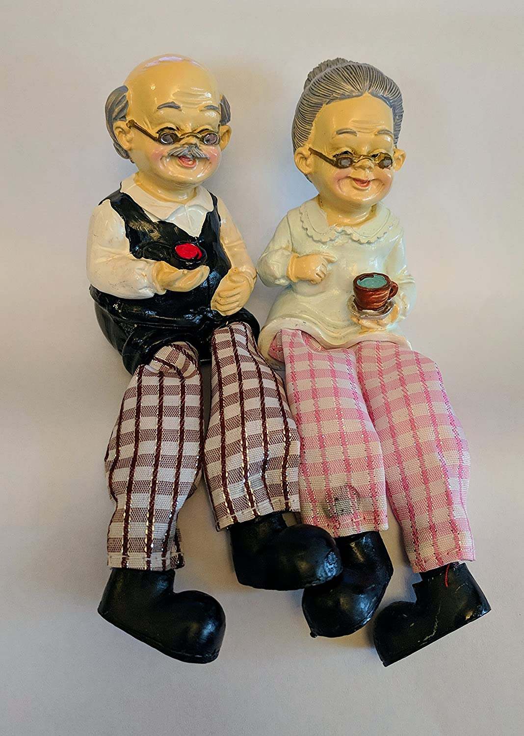 Wonderful Store Pack (2) Decor Shelf Sitters Dolls Grandfather & Grandmother. A Beautiful Ornament For Every Home Or Office