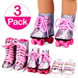 18 Inch Doll Shoes 3 Pairs Glitter Roller Skates,Sports Shoes,High Waist Boots For American Girl Dolls by ANNTOY