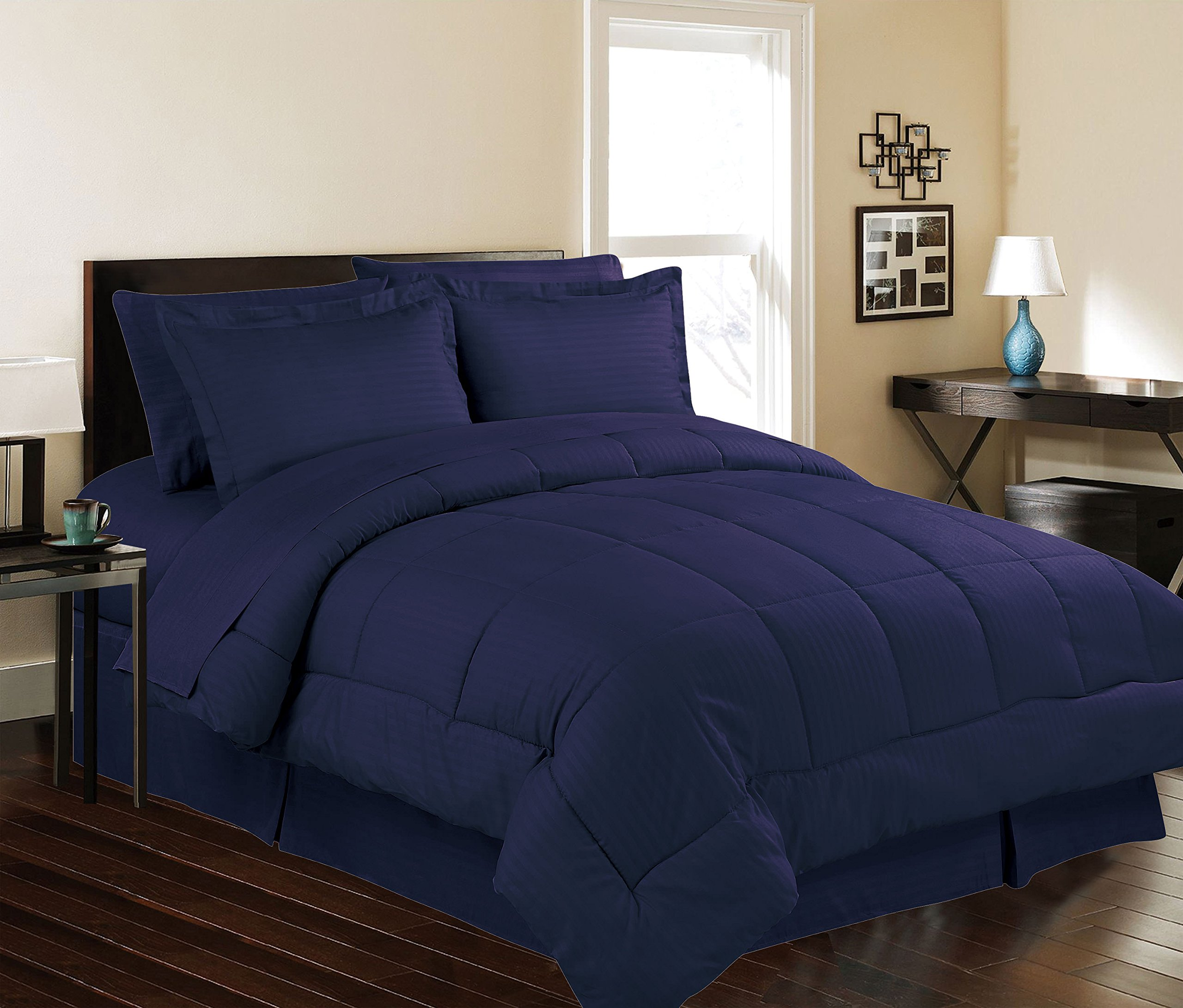 Décor&More Hotel Collection Queen Size 8 Piece Bed in a Bag Down Alternative Comforter Set - Navy