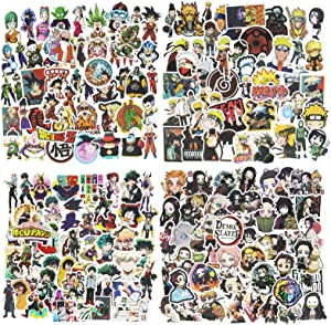 200Pcs Mixed Anime Stickers, Waterproof Naruto Stickers My Hero Academia Demon Slayer Dragon Ball Z Stickers Skateboard Laptop Stickers for Teens Luggage Decal