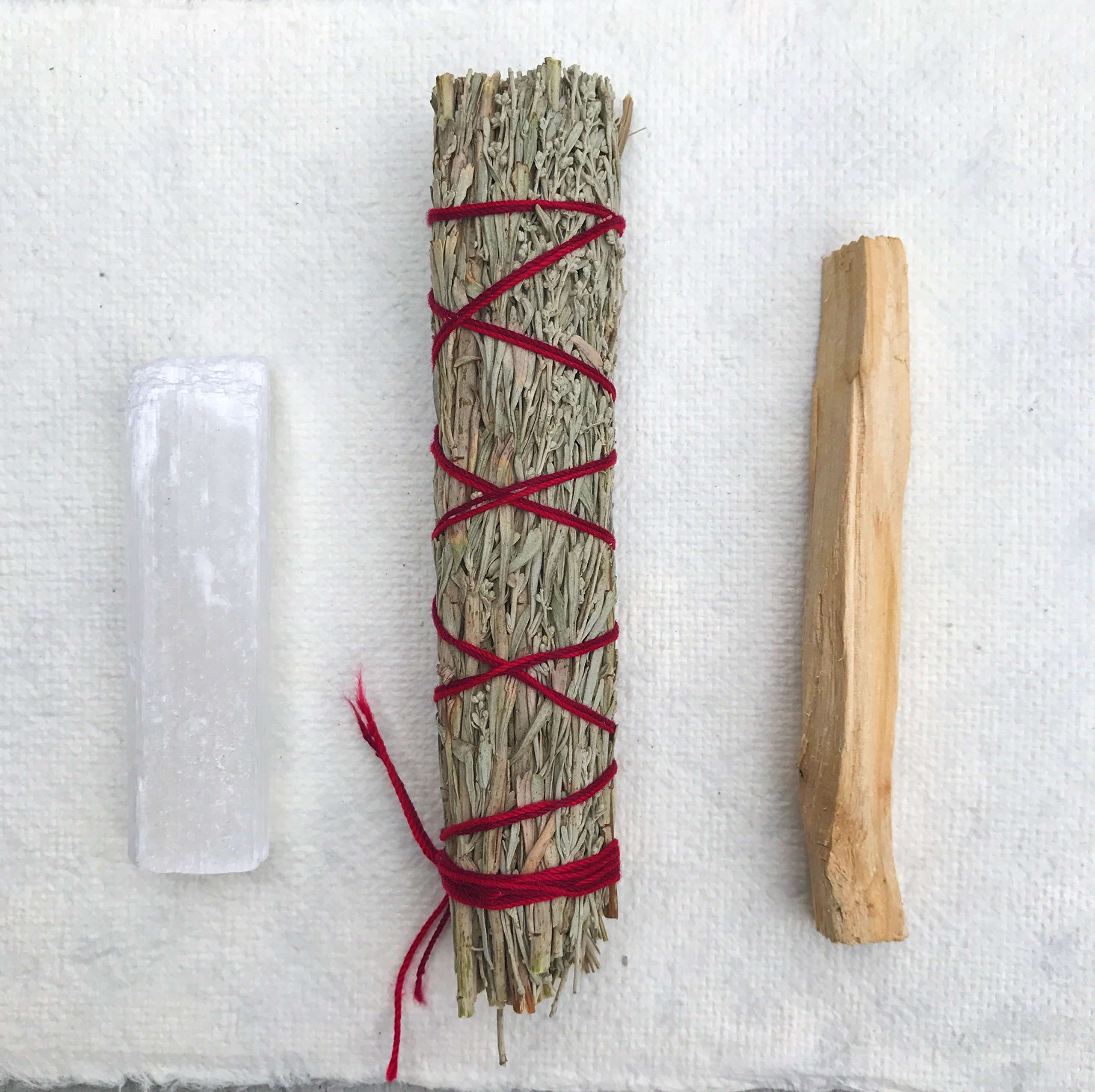Sage Smudge Stick Kit - White Sage, Palo Santo, Mini Sage, Sage and Sweetgrass Smudging Sticks PLUS a Selenite Crystal & How to Guide for Cleansing your Home - Hand tied in California (Selenite) by Maha Living (Image #3)