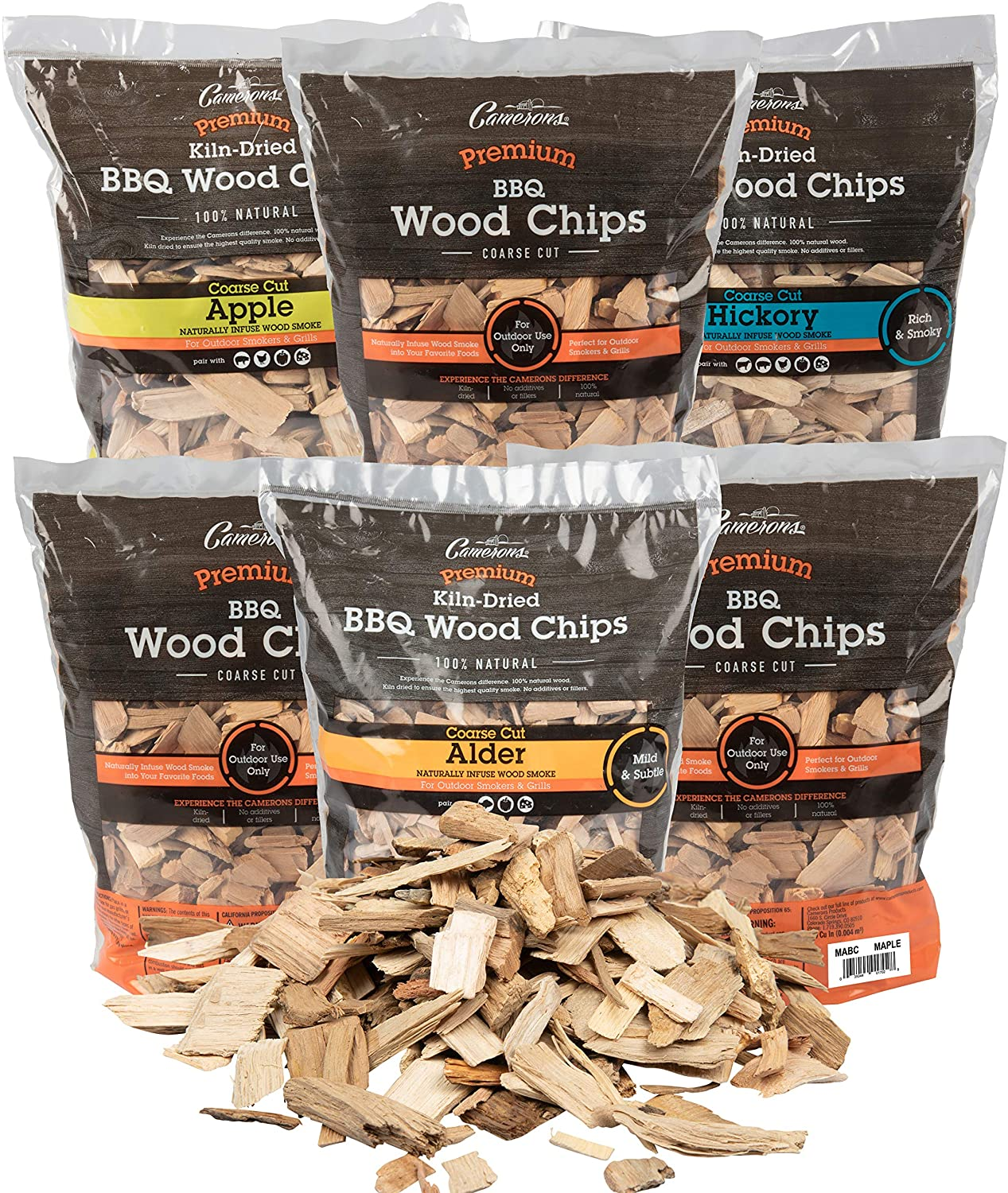 Camerons Products Wood Smoker Chips, 6 Pack ~ 2 lb. Bag, 260 cu. in. - Apple, Alder, Hickory, Cherry, Bourbon Soaked Oak, Pecan - 100% Natural, Fine Wood Smoking and Barbecue Chips