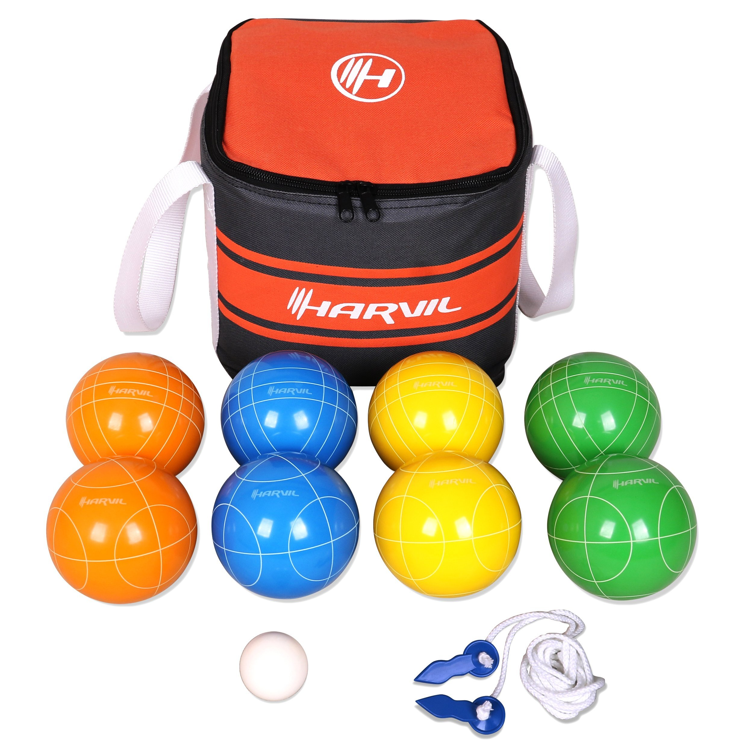 Harvil 90mm Bocce Ball Set. Includes 8 Poly-Resin Balls, 1 Pallino, 1 Nylon Zip-up Carrying Case Measuring Rope by Harvil