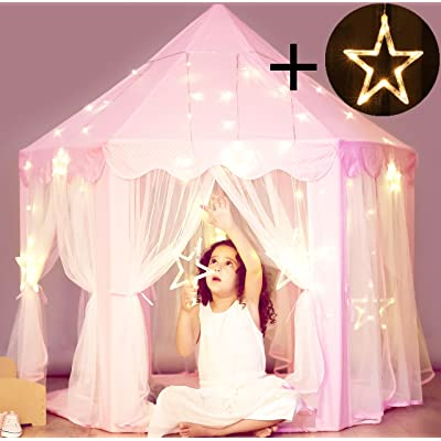 Princess Castle Tent with Large Star Lights String, Durable Kids Playhouse for Indoor & Outdoor Games, Stimulate Pretend and Imaginative Play, Have Fun, Encourage Social Interaction, Cute Pink: Toys & Games