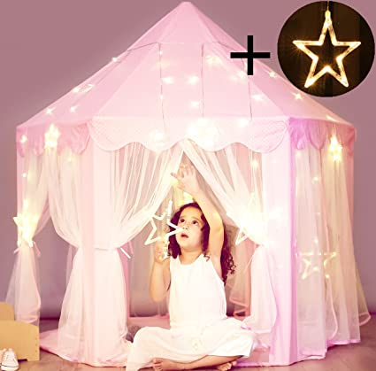 Princess Castle Tent with Large Star Lights String Durable Girls Play Tent for Indoor and & Amazon.com: Princess Castle Tent with Large Star Lights String ...