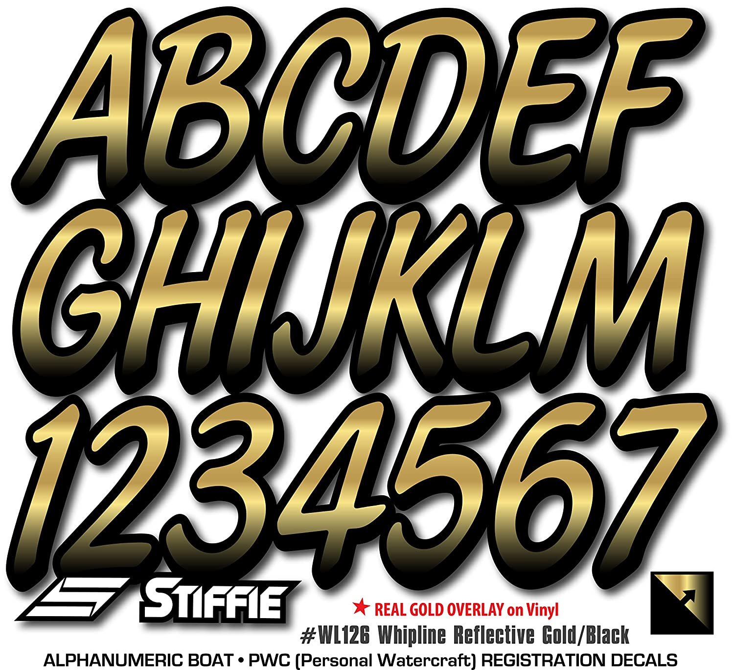 Stiffie Whipline Reflective Gold//Black 3 Alpha-Numeric Registration Identification Numbers Stickers Decals for Boats /& Personal Watercraft