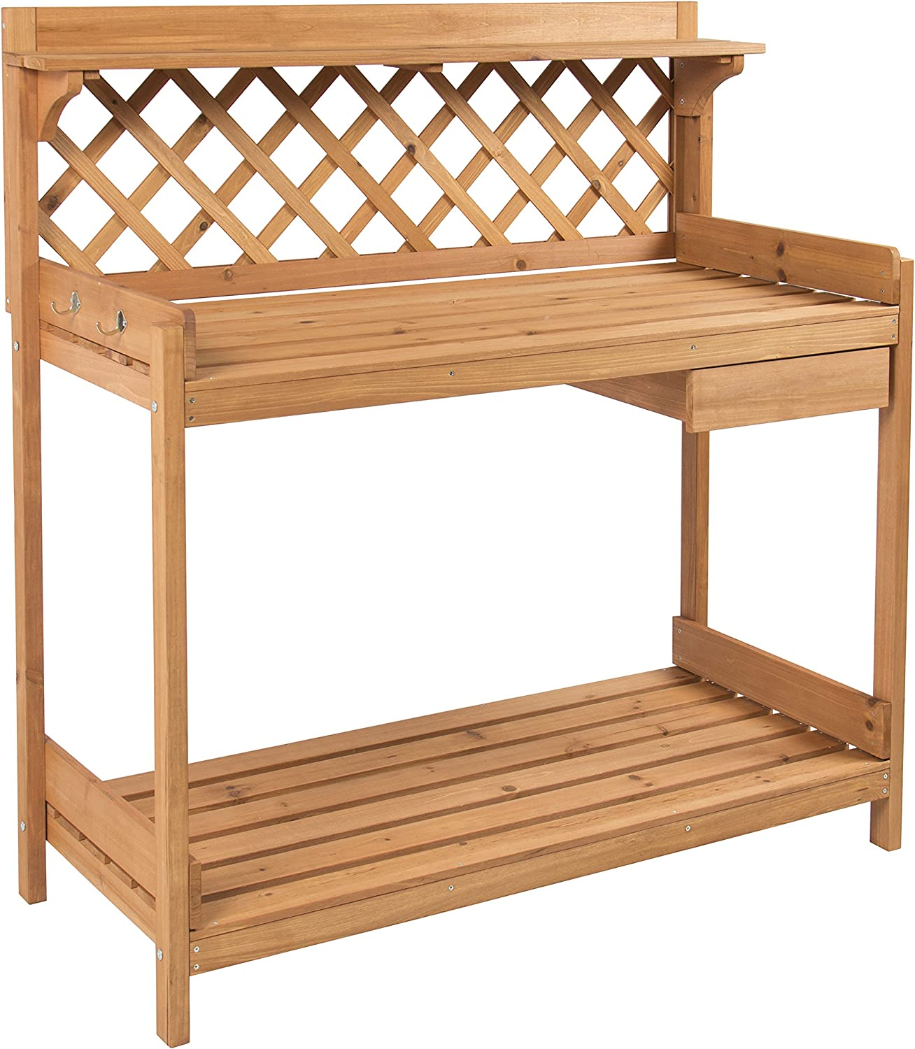Best Choice Products Outdoor Wooden Garden Potting Bench Work Station Table w Cabinet Drawer, Open Shelf, Natural Wood Finish