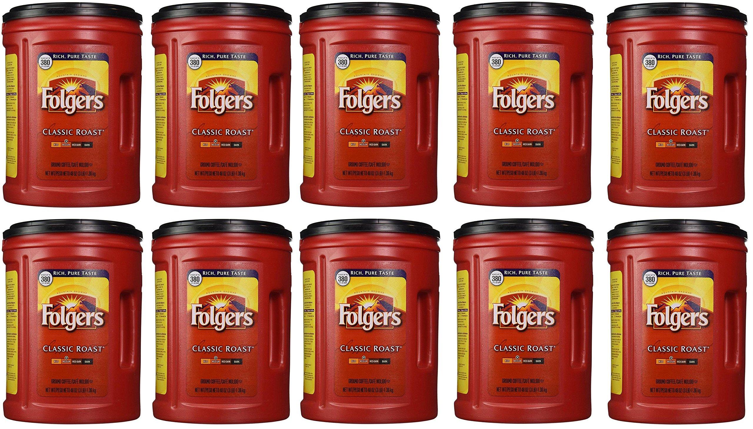 Folgers Coffee, Classic(Medium) TowAxx Roast, 48 Ounce, 10 Pack