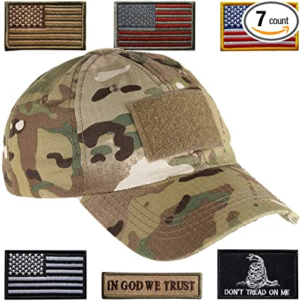 8fce543ae729d2 Lightbird Tactical Hat with 6 Pieces Tactical Military Patches, Adjustable Operator  Hat, Durable Tactical