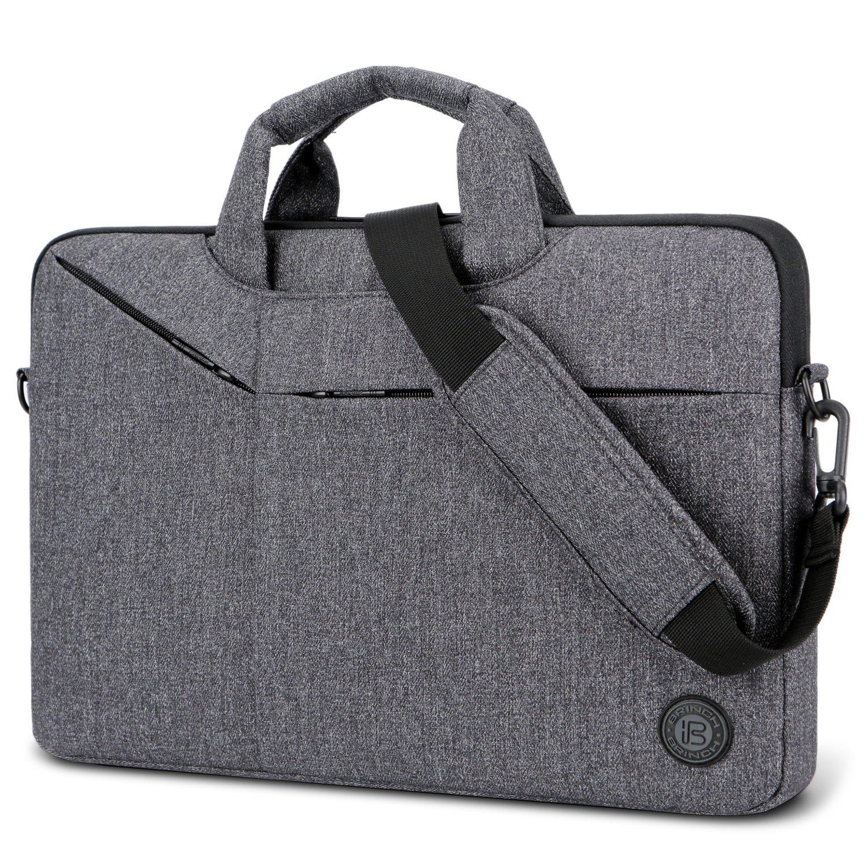 Laptop Bag,BRINCH Slim Water Resistant Laptop Messenger Bag Portable Laptop Sleeve Case Shoulder Bag Briefcase Handbag with Strap for Up to 15.6 Inch Laptop/NoteBook Computer Men/Women,Dark Grey