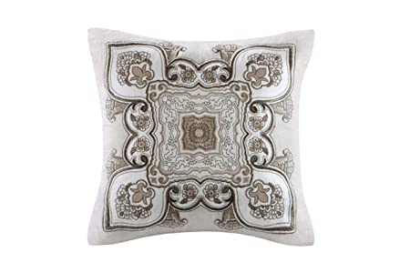 Echo Odyssey Square Fashion Cotton Throw Pillow, Global Inspired Embroidered Plush Square Decorative Pillow, 16X16, Multi