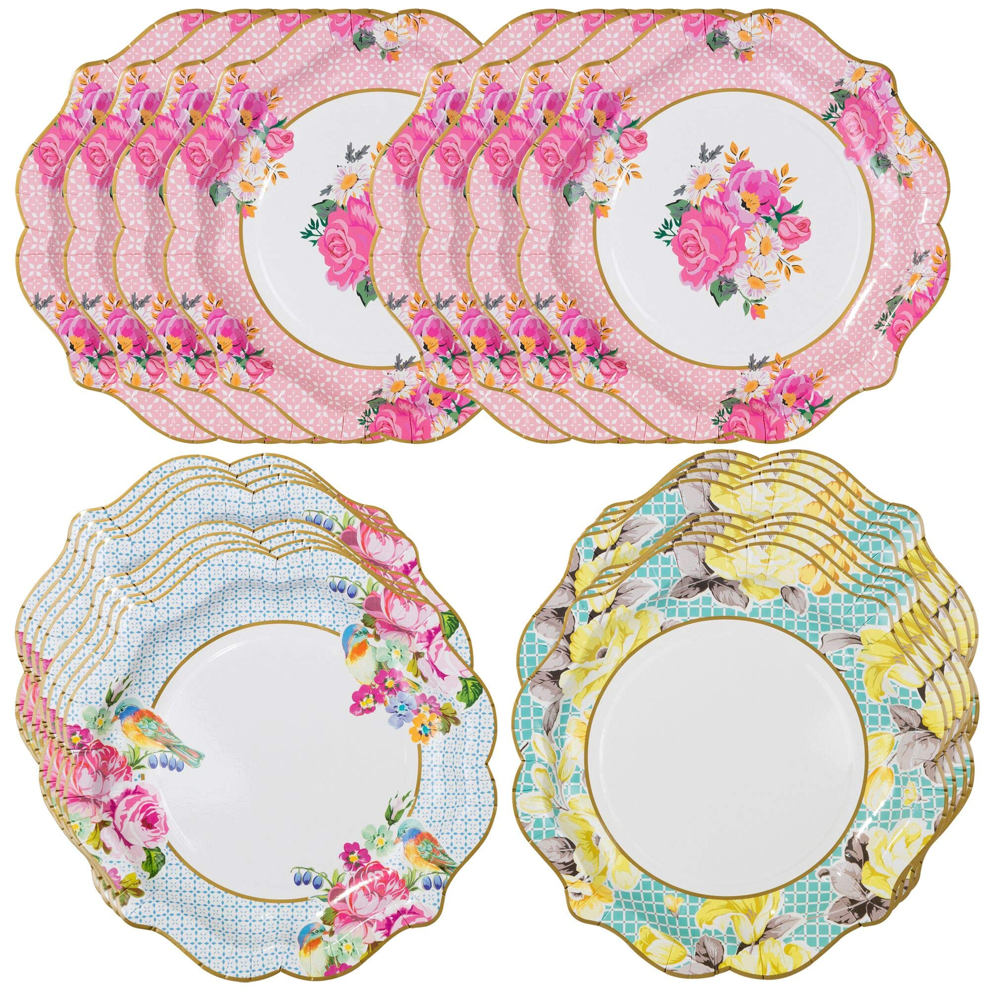 Talking Tables Truly Scrumptious Floral Plates for a Tea Party, Wedding, Multicolor (24 Pack) by Talking Tables