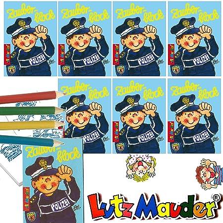 Lutz Mauder 8 x Zauberblöckchen * Polizei * in DIN A8 Plus Buntstifte im Set   Zauberblock Mitgebsel für Kindergeburtstag   P