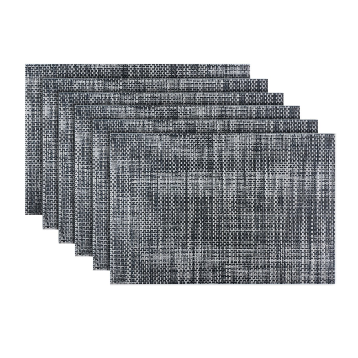 Emiica Woven Vinyl Placemats for Dining Table, Heat Resistant and Non Slip, Washable and Easy to Clean Mats Set of 6 (Black and White)