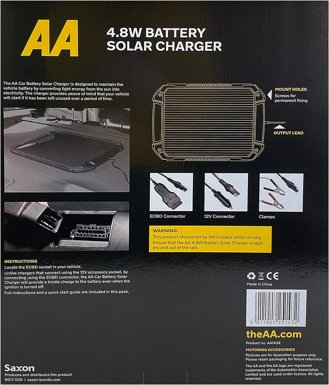 AA Car Essentials AA1432 Car 12V Battery Solar Charger