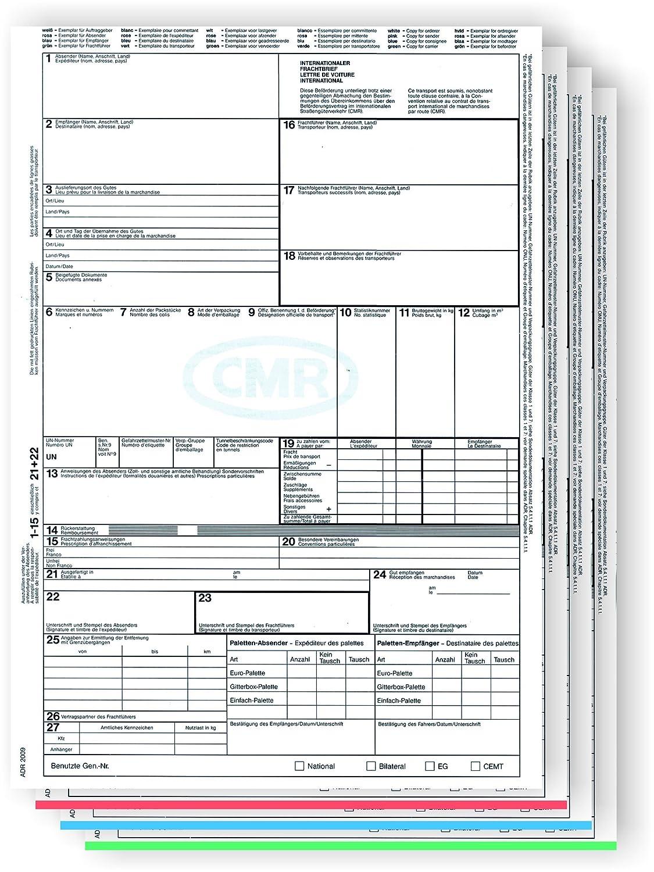 50 pz 4 schede SD F.INTERNATIONALEN STRA/ßENVERKEHR RNKVERLAG CMR Frachtbrief Frachtbrief CMR formato A4