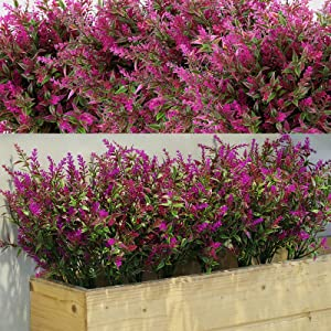 12 Bundles Artificial Shrubs Bushes Artificial Greenery Lavender Artificial Flowers Outdoor UV Resistant Plants for Floral Arrangement, Table Centerpiece, Home Garden Decor (Fuchsia)