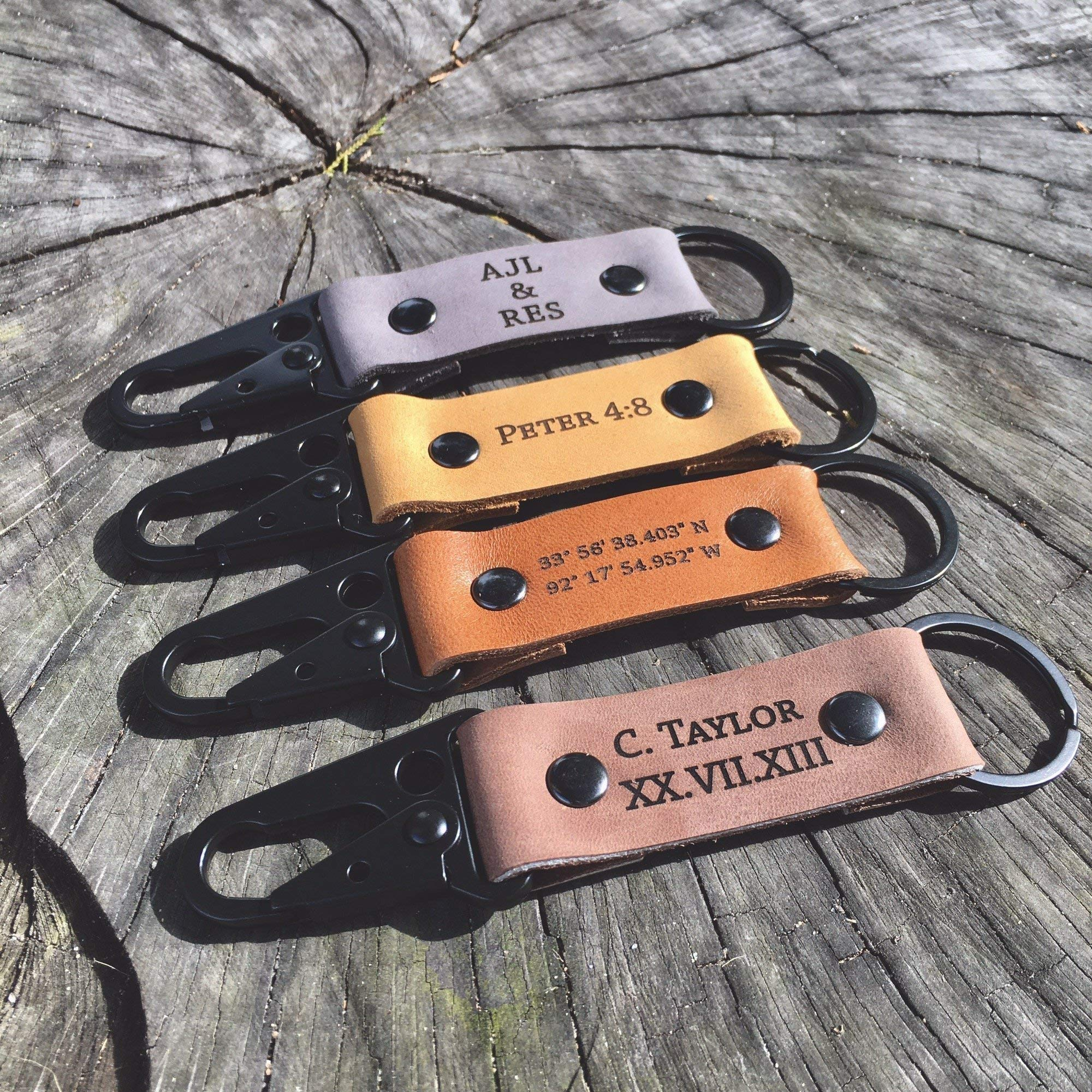 Custom Leather Keychain - Carabiner Keychain   Heavy Duty   Personalized Keychain by The Blue Coop Door