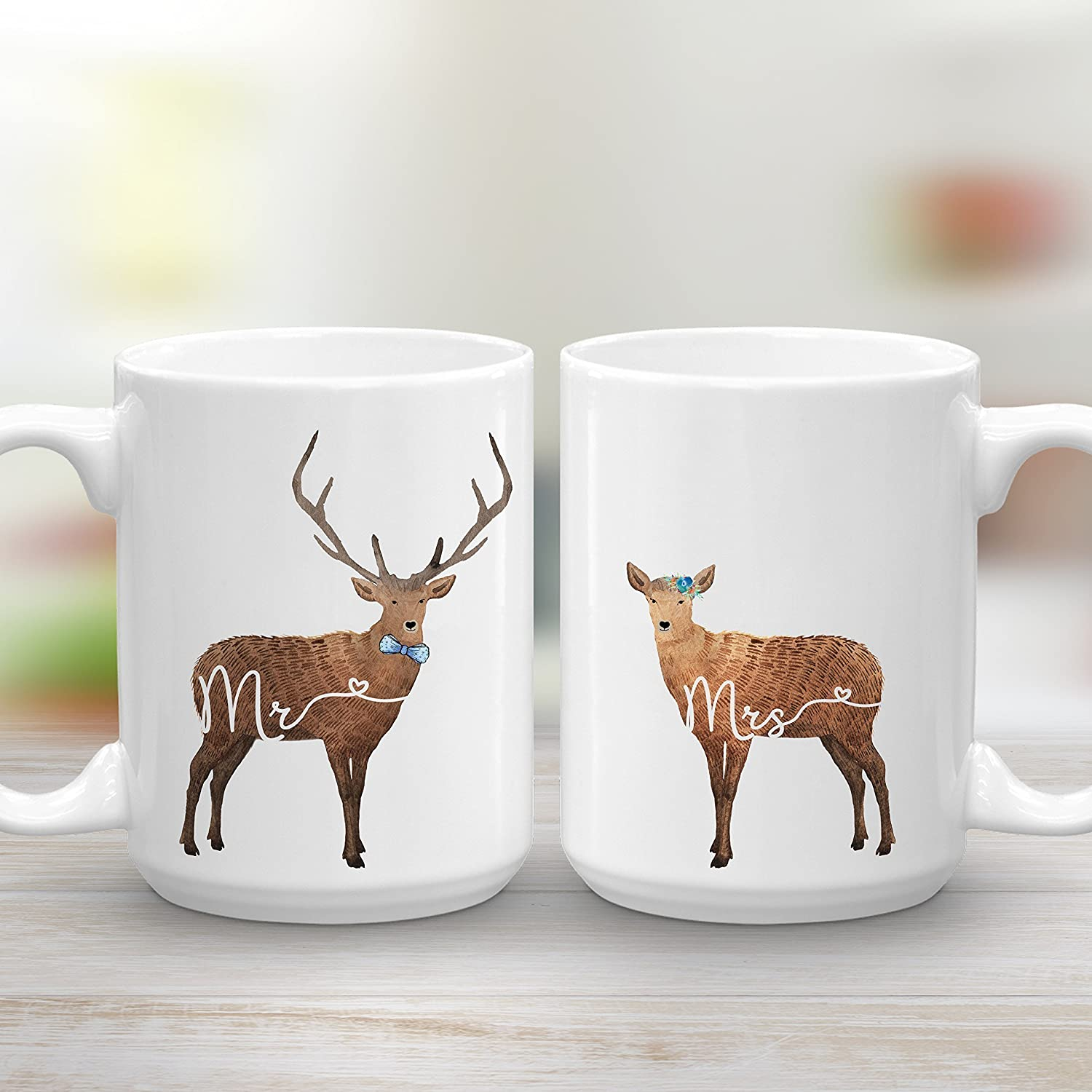 Mr and Mrs Mug Set, Deer Mugs, Large 15oz Two Mug Set, Wedding Engagement Gift, Couples Gift