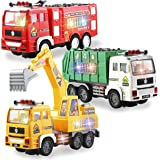 JOYIN 3-in-1 Toy Trucks Set Including Fire Truck, Garbage Truck and Excavator with 4D Stunning Lights and Sounds…