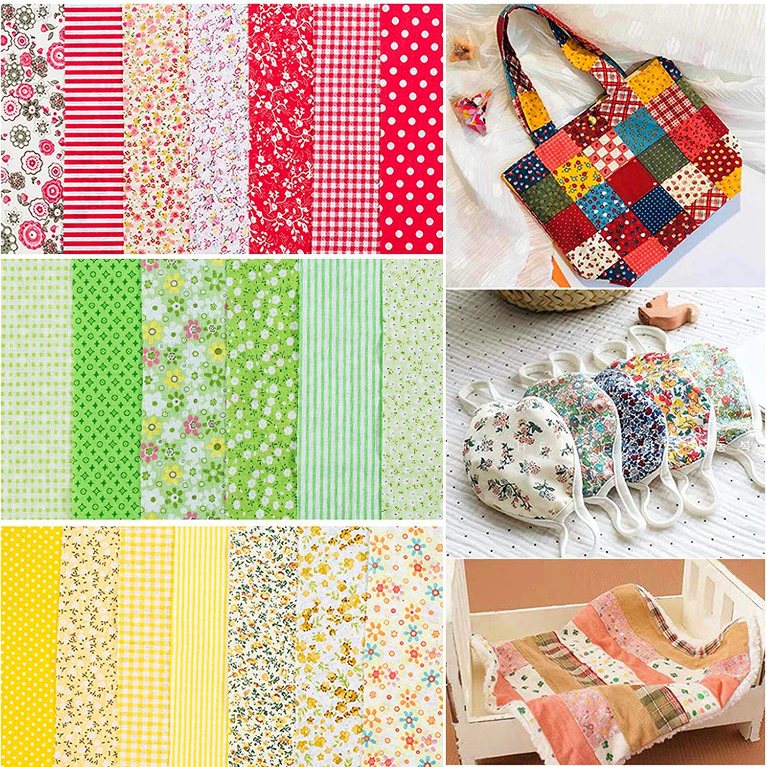 100/% Cotton - 25cm x 24cm Squares Sheets Printed Floral Sewing Supplies for Patchwork Sewing DIY Crafting Quilting 77pcs Quilting Cotton Craft Fabric Bundle