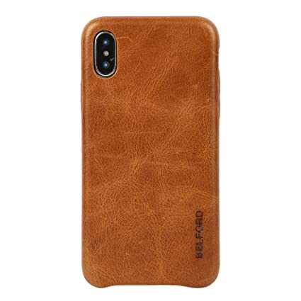 Amazon.com: Funda para iPhone X, piel de vaca italiana ...