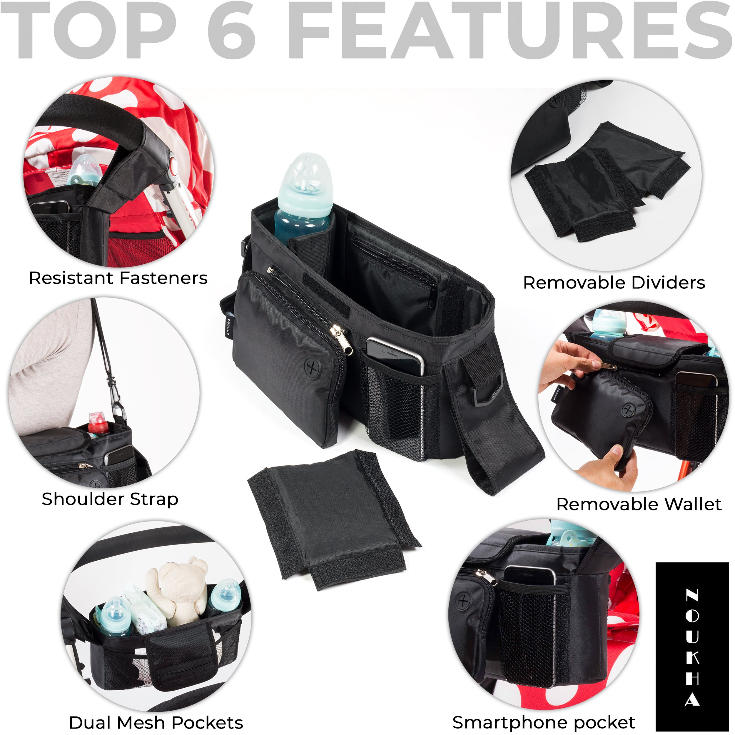 Stroller Organizer Bag -Universal Fit, Large Storage Space for Baby's Accessories and Phone, Insulated Cup Holders, Shoulder Strap, Removable Compartments, Stroller Caddy, Parent Console Organizer by Noukha (Image #2)