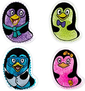 Penguin Kid's Ice Packs, 4 Pack, Small Cold Therapy and Pain Relief for Minor Cuts, Burns, Scrapes, Injuries, Support Teething, Fevers and Sore Arms, Legs, Body