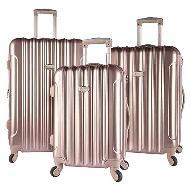 kensie 3 Piece Light Metallic Design 4-Wheel Luggage Set, Rose Gold Color Option