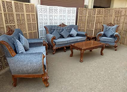 Aarsun Woods Living Room Sofa Set Handcrafted Teak Wood 3 2 1 Seater Center Table Side Tables Glossy Finish Amazon In Home Kitchen