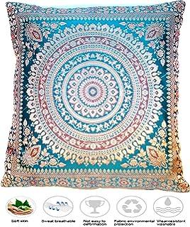 Handgefertigt Rostfarbe Dekokissen aus Indische Banarasi Seide 40 cm x 40 cm