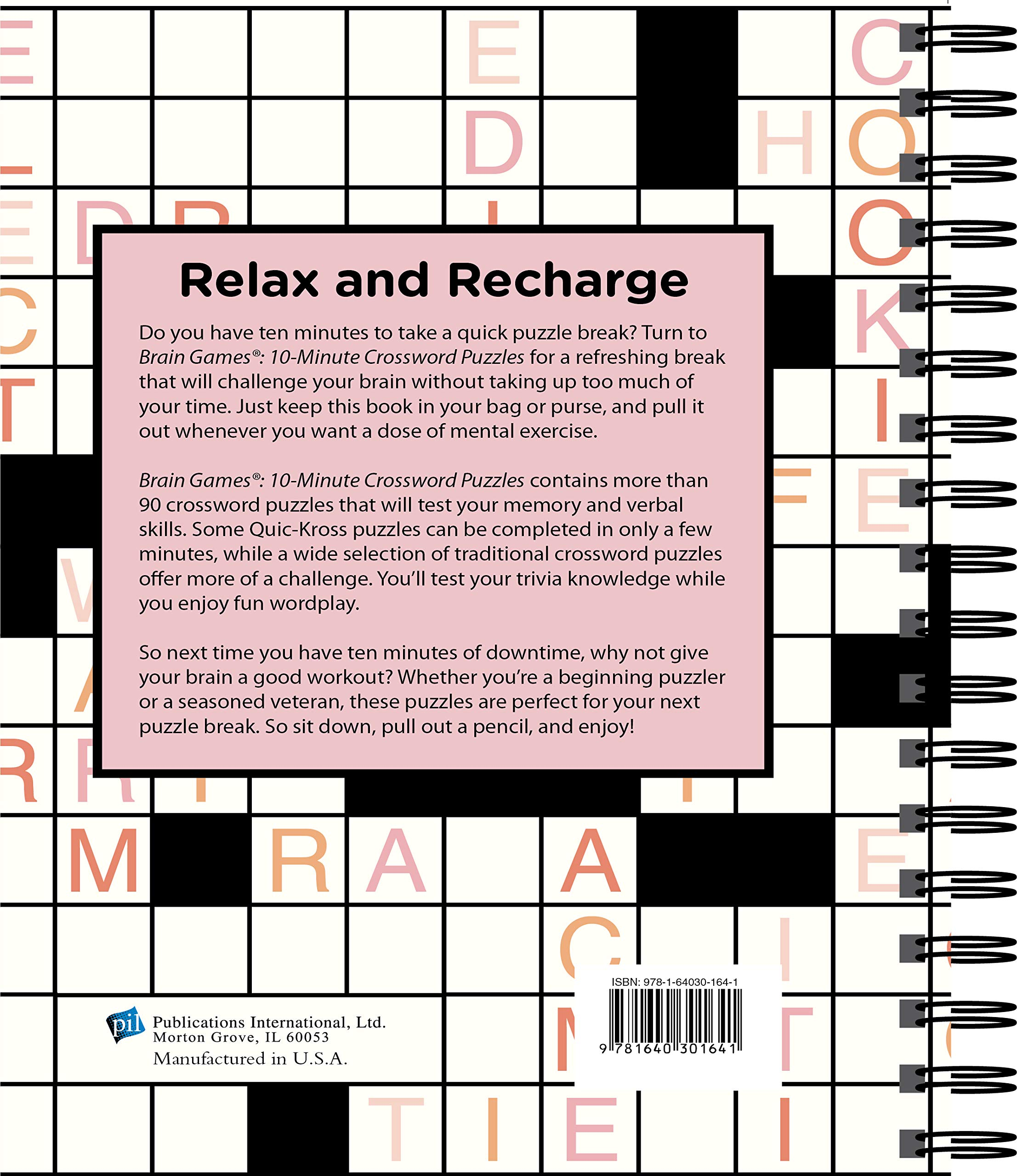 Amazon Com Brain Games 10 Minute Crossword Puzzles Pink 9781640301641 Publications International Ltd Brain Games Books