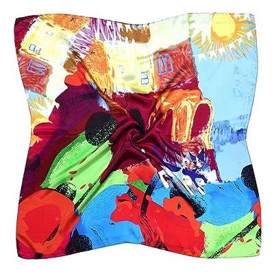 Écharpe Carrée En Soie Épaisse Imprimée De Chats Multicolores