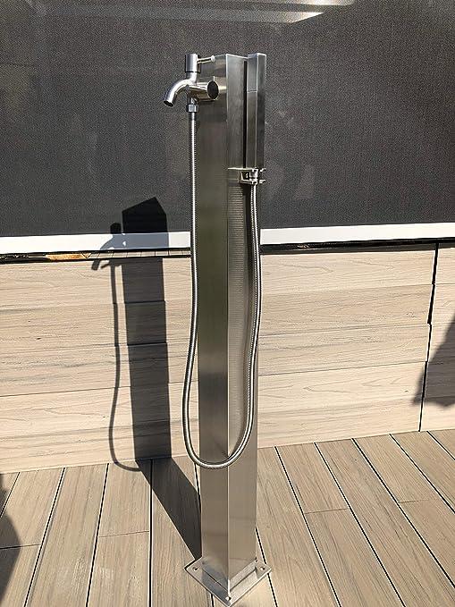 Mini Ducha Solar, Acero Inoxidable Cepillado, 11 litros, Ducha de jardín, Ducha de Piscina, Columna de Agua, surtidor de Agua: Amazon.es: Jardín