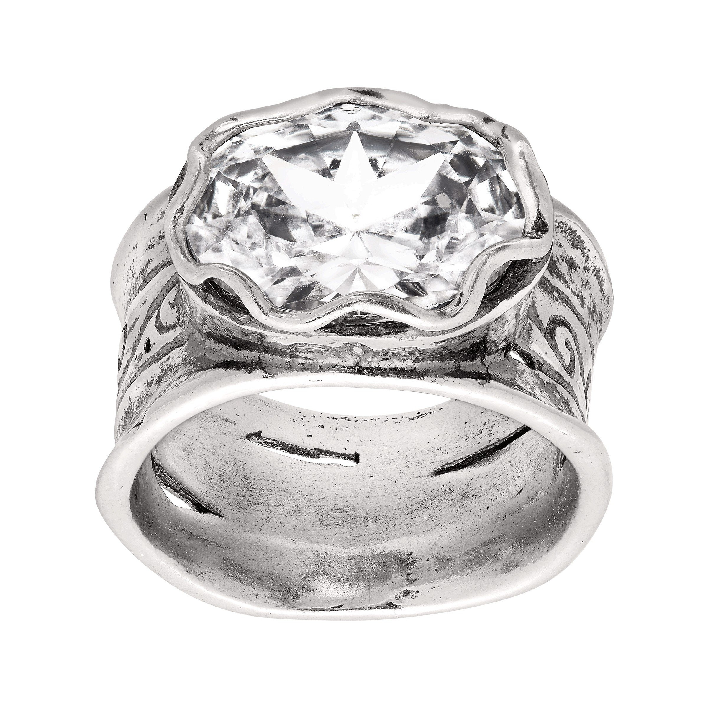 Silpada 'Rustic Royalty' 7 ct Cubic Zirconia Statement Ring in Sterling Silver