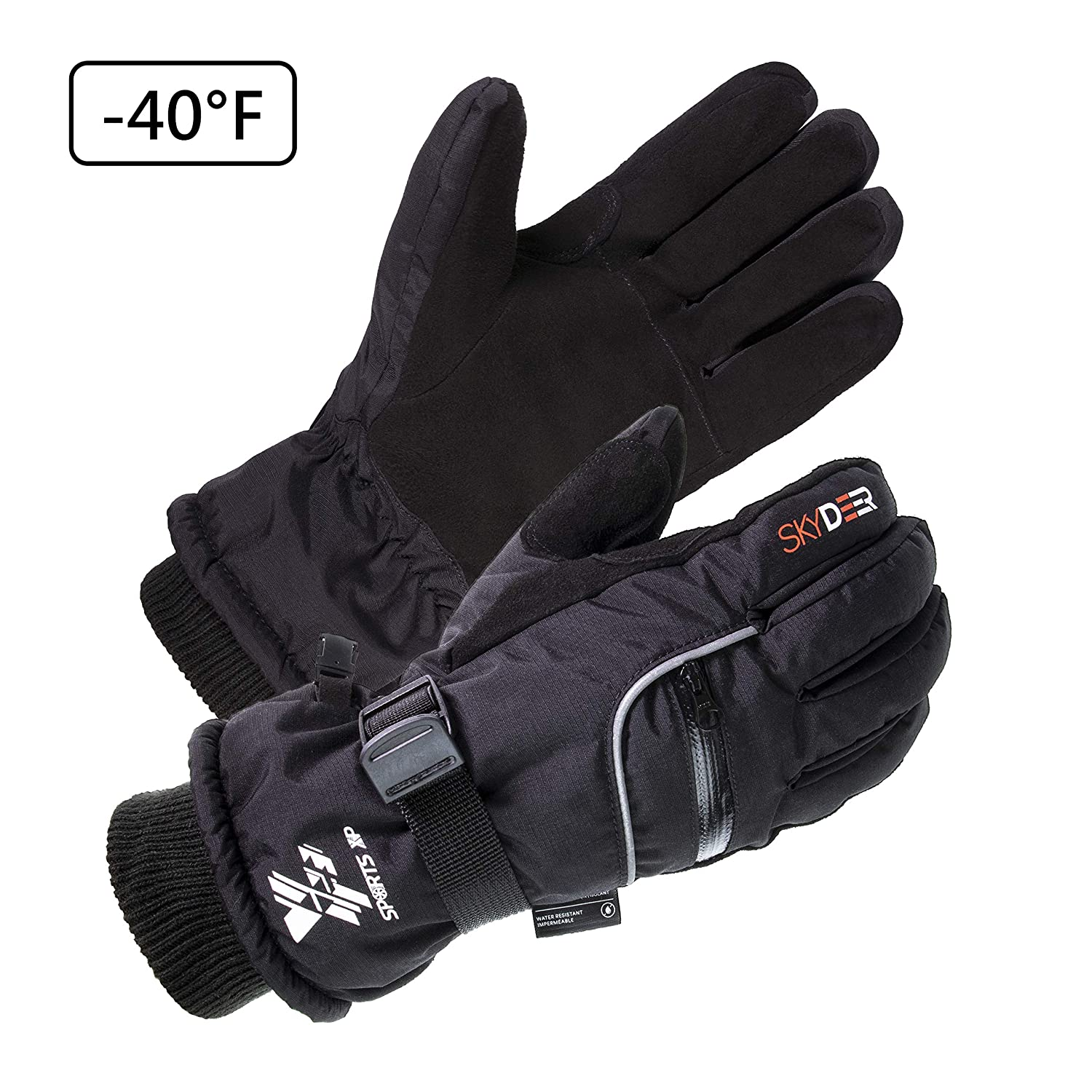 SKYDEER 3M Scotchgard Waterproof Genuine Deerskin Suede Leather Ski Gloves (SD8650T) SKYDEER CO.