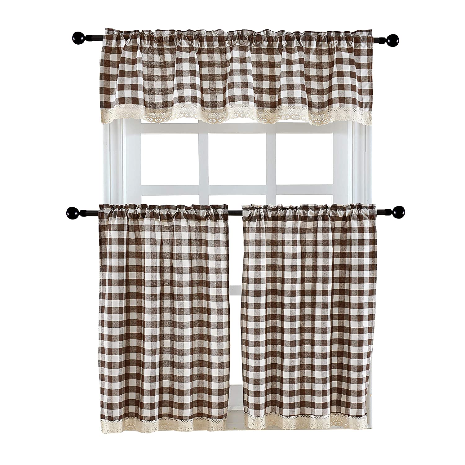3 Pieces Kitchen Curtain Tier and Valance Set Checkered Cotton Blend Coffee
