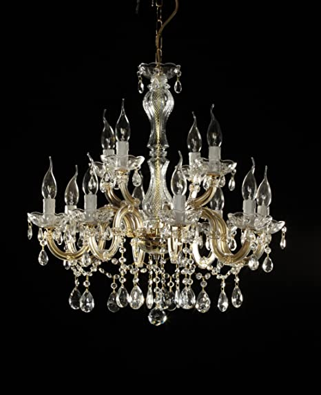 Crystal chandelier 12 arms 60cm brass amazon kitchen home crystal chandelier 12 arms 60cm brass mozeypictures Image collections
